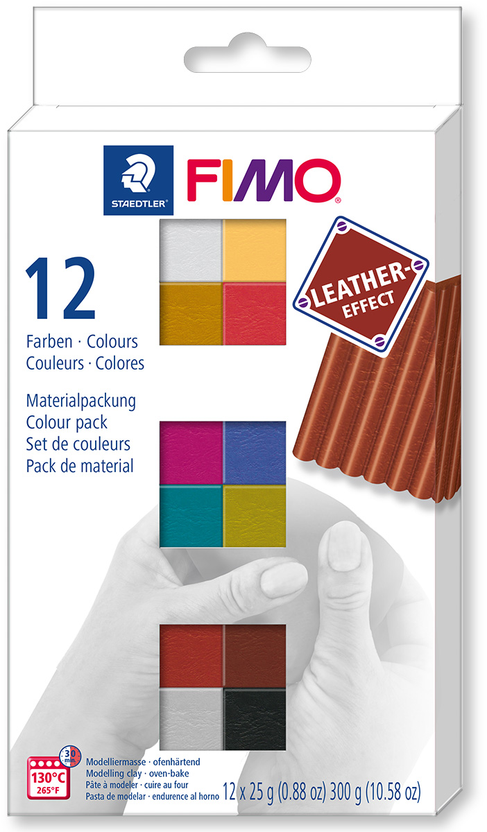 FIMO Leather effect sada - 12 x 25 g